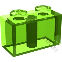 KLOCEK LEGO BRICK 1X2 TRANSPARENT BRIGHT GREEN - 3004