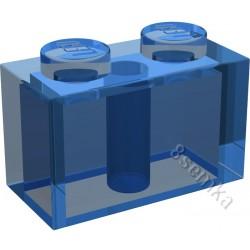 KLOCEK LEGO BRICK 1X2 TRANSPARENT DARK BLUE - 3004