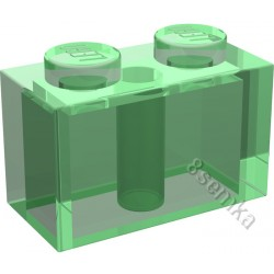 KLOCEK LEGO BRICK 1X2 TRANSPARENT GREEN - 3004