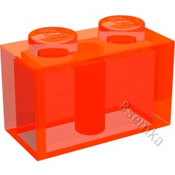 KLOCEK LEGO BRICK 1X2 TRANSPARENT NEON ORANGE - 3004