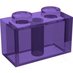 KLOCEK LEGO BRICK 1X2 TRANSPARENT PURPLE - 3004