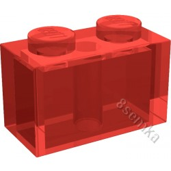 KLOCEK LEGO BRICK 1X2 TRANSPARENT RED - 3004