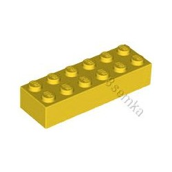 KLOCEK LEGO BRICK 2X6 YELLOW - 2456