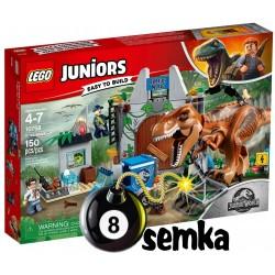 LEGO JUNIORS JURASSIC WORLD 10758 TREX NA WOLNOŚCI